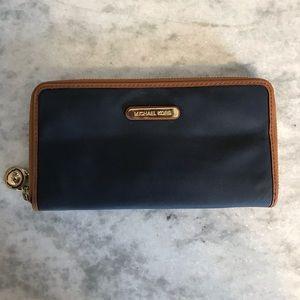 Michael Kors dark blue zip around wallet